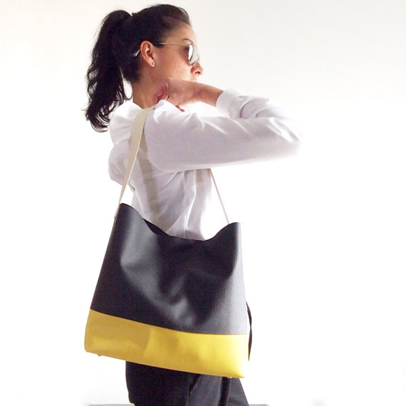 Black and Yellow Hobo Bag Vegan