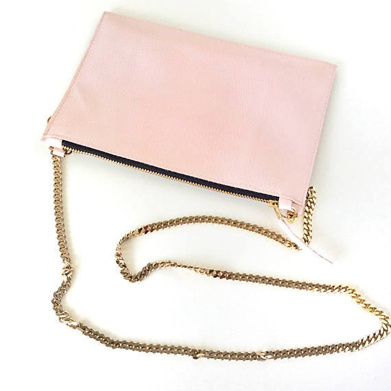 BLUSH PINK CHAIN SHOULDER BAG