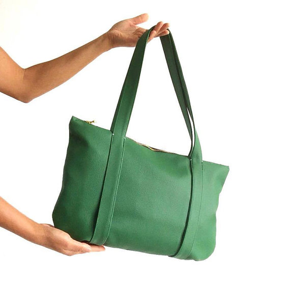 Green Vegan Leather Bag