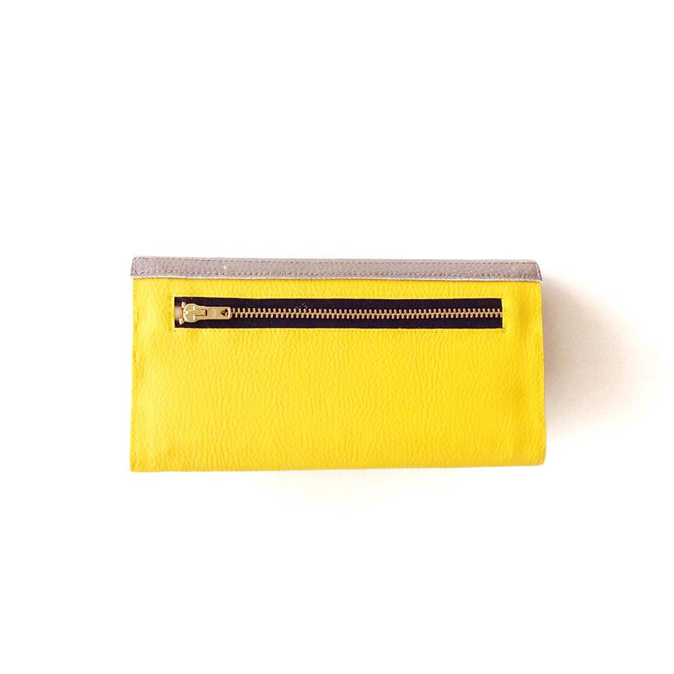 Slim Wallet for Women, Yellow Wallet With Coin Pocket