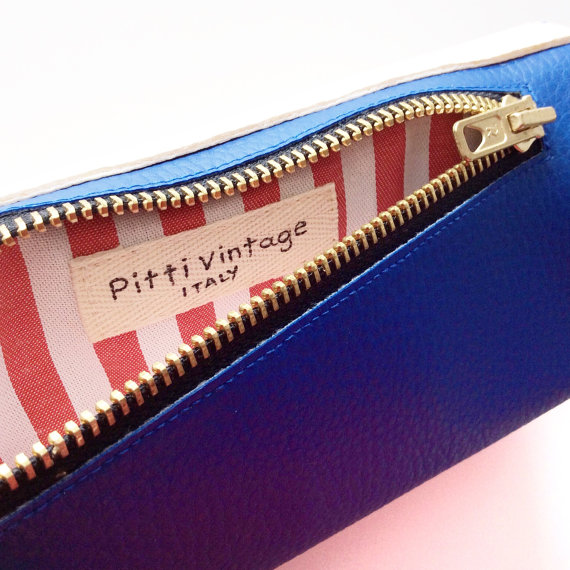 Credit Card Wallet for Women, White and Blue Cruelty Free