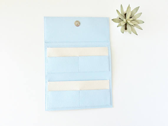 Clutch Wallet Purse, Faux Leather Soft Blue Color Made In Italy