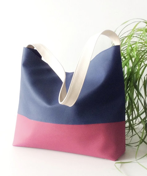 Blue and burgundy hobo bag