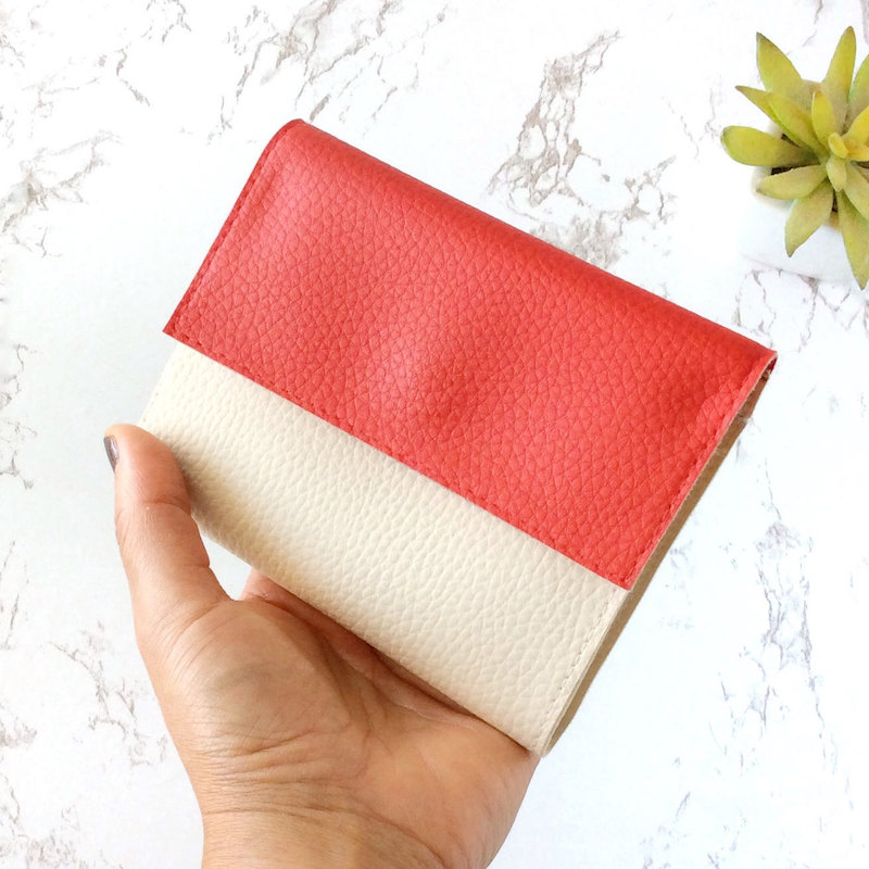 Small Wallets for Women, Vegan Leather Red Ivory Personalized