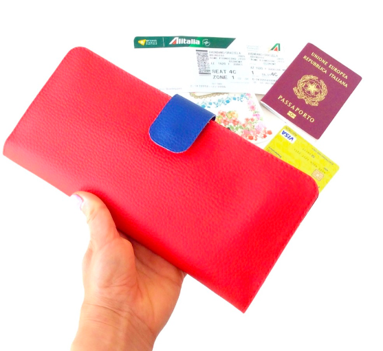 Travel Wallet For Women, Red Slim wallet womens