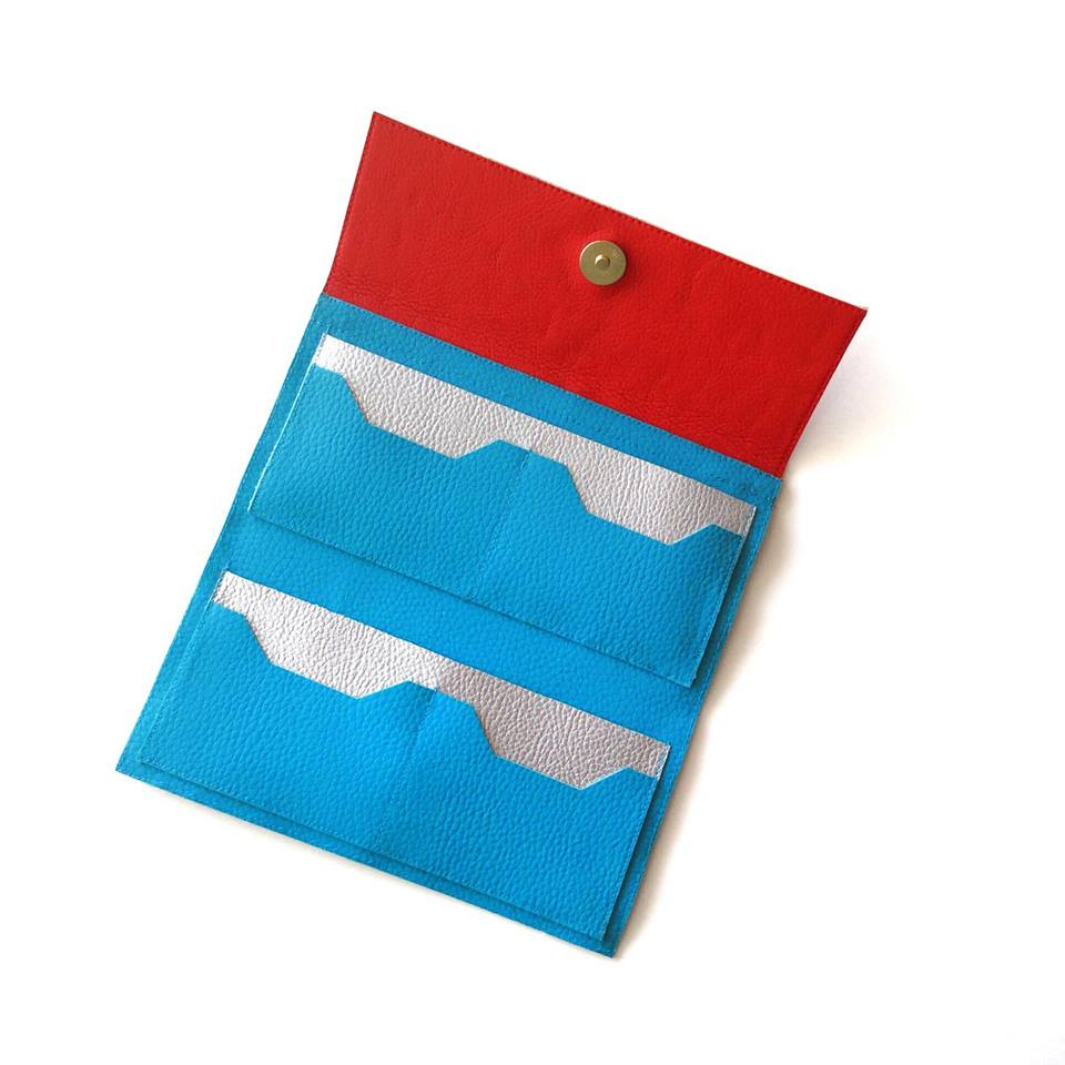 Womens Wallet Red and Turquoise
