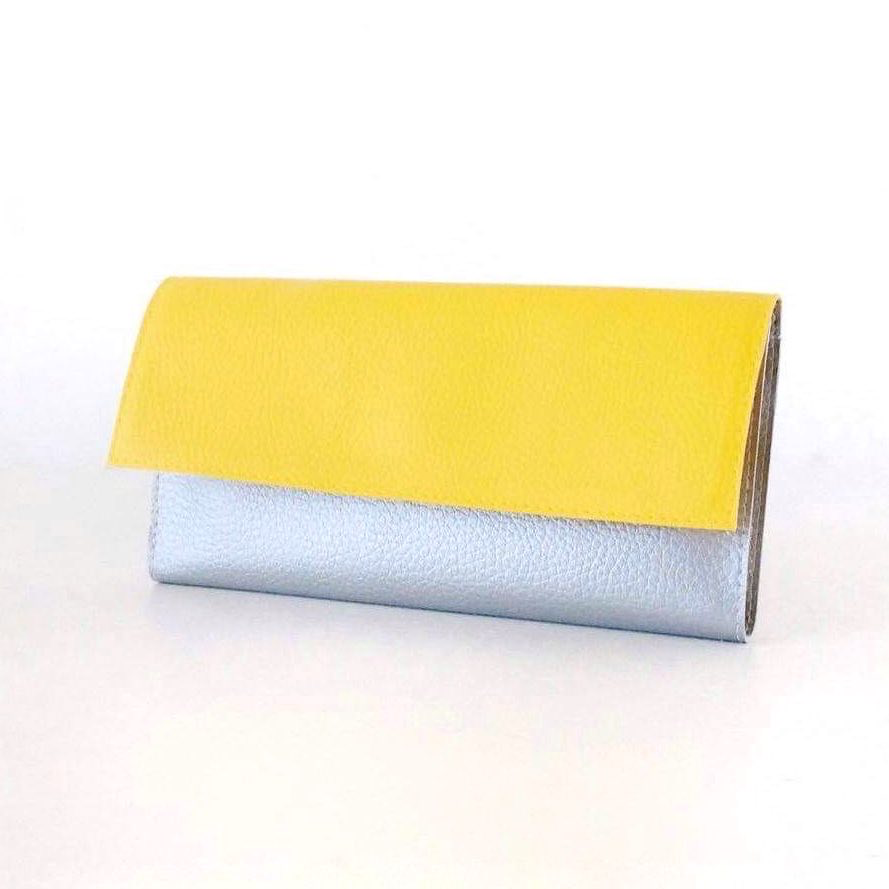 Trifold Wallet Womens, Modern Wallet Silver and Yellow