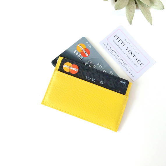 Credit Card Holder For Women in Vegan leather Yellow