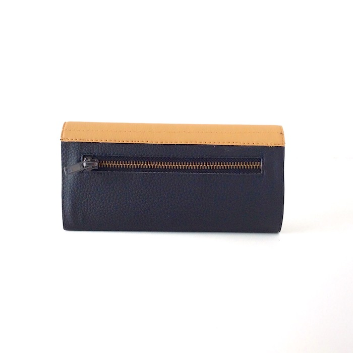 Wallet for Women, Beige and Black Vegan Leather