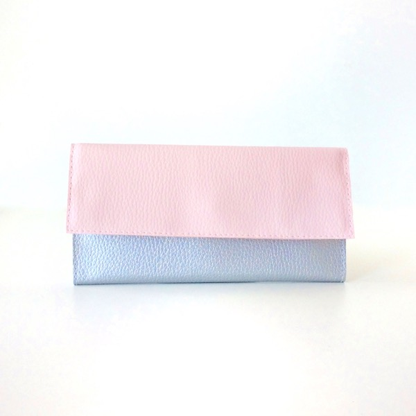 Blush Pink And Silver Clutch Wallet, Choose Your Colors