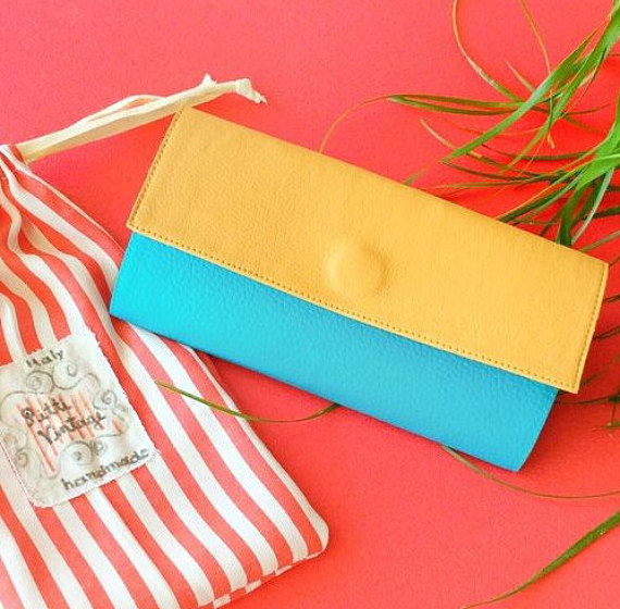 Womens Credit Card Wallet Vegan Beige and Turquoise