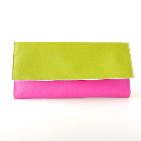Tri Fold Womens Wallet, Pink and Green Wallet Made in Italy