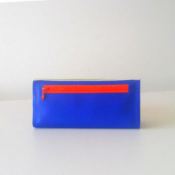 Womens Credit Card Wallet, Colour Pop Lime Green and Blue