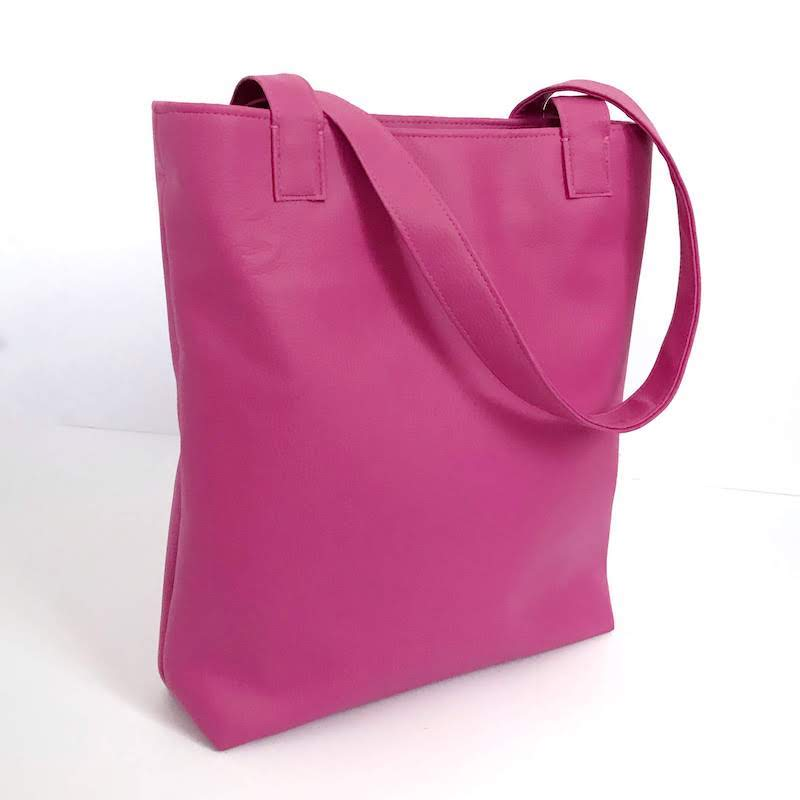 Emily Pink Tote Bag, Faux Leather Bag