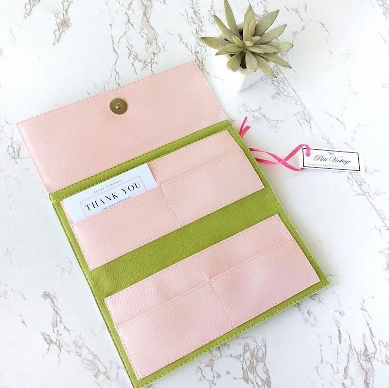Chloris Light Pink and Green Wallet Large