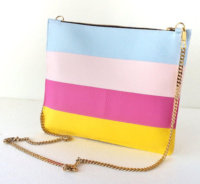 Chain Crossbody Bag, Vegan Striped Bag