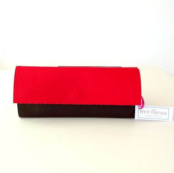 Womens Clutch Wallet Bicolor Red and Brown Handmade in Italy