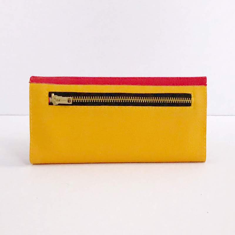 Womens Wallet Red Yellow, Color Block Wallet