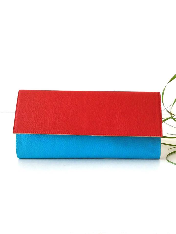 Card Holder Wallet Womens, Color Blocking Red and Turquoise