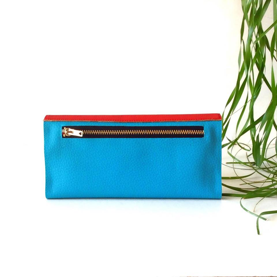Card Holder Wallet Womens Red and Turquoise, Choose your Colors