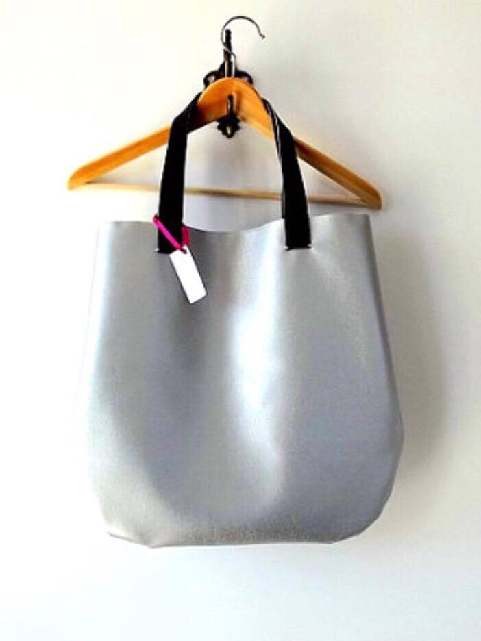 Silver oversized hobo bag vegan leather / other colors