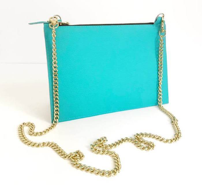 Faux Leather Crossbody Bag, Vegan Leather Chain Bag